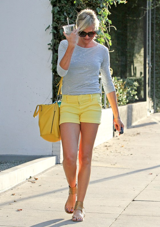 Cameron Diaz Leaves Gym, Sports Bright Tiny Yellow Shorts