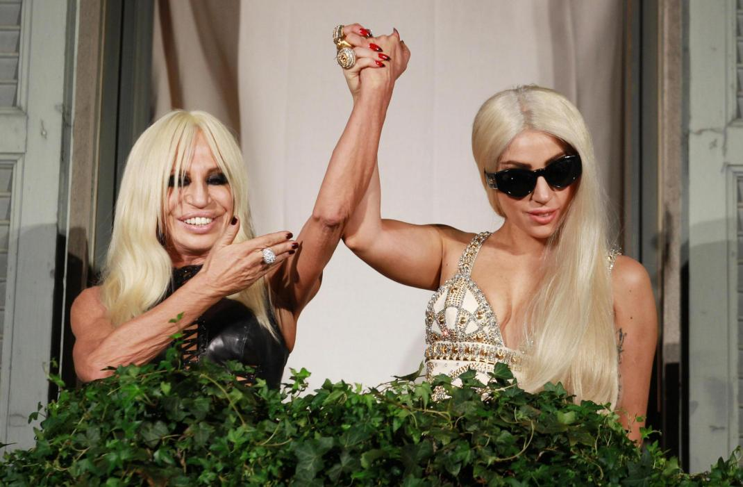 LADY GAGA AND DONATELLA VERSACE IN MILAN