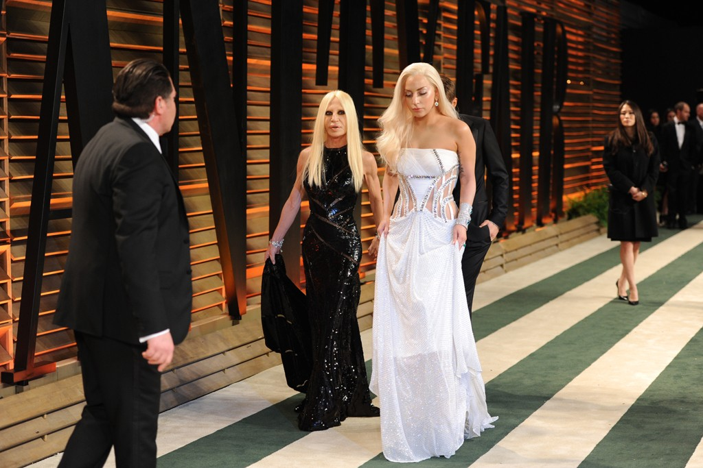 Donatella Versace and Lady Gaga in Atelier Versace.